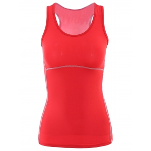 U Neck Racerback Yoga Running Tank Top - Red - S