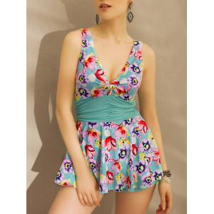 Alluring Plunging Neck Bandeau Twist Floral Print Women's Swimwear