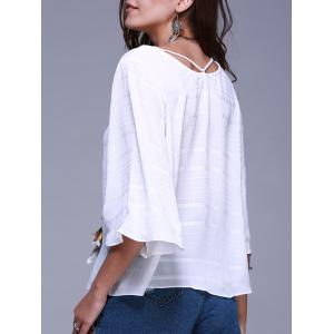 Casual Scoop Neck Flare Sleeve Tie Front Ribbed Loose Blouse For Women -