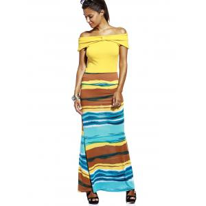 Fashionable High-Waisted Color Block Skinny Slimming Women's Skirt -