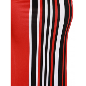 Stylish Women's Colorful Striped Over Hip Skirt -