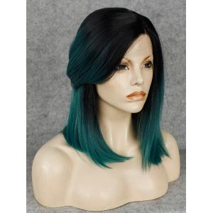 Trendy Straight Synthetic Medium Black Ombre Dark Green Lace Front Wig For Women -