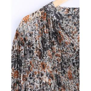 Stylish V Neck Floral Print Long Sleeves Dress For Women -