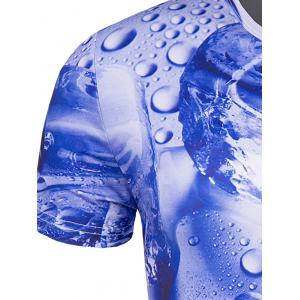 Slimming 3D Drop of Water Printing Collarless Short Sleeves For Men - BLUE 2XL
