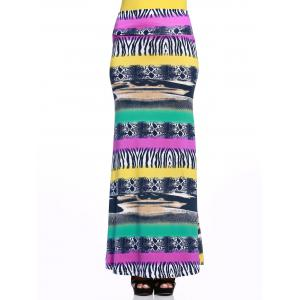 Mixed Print Long Skirt - COLORMIX L