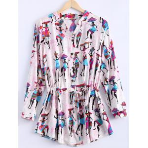 Ethnic Style V Neck Shirt Sleeves Drawstring Waist Printed Dress For Women