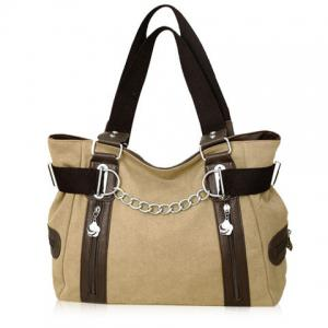 Casual Chain and Canvas Design Tote Bag For Women - KHAKI