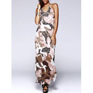 Long Halter Backless Camo Prom Dress
