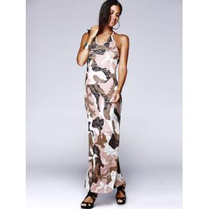 Long Halter Backless Camo Prom Dress - COLORMIX L