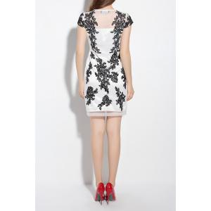 Short Sleeve Floral Embroidery Sheath Dress -