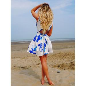 Fashion Scoop Neck Sleeveless Floral Print Hollow Out Women's Dress -