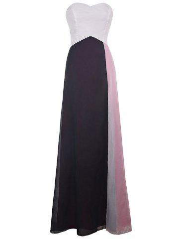 Shops Stylish Strapless Color Block Maxi Prom Dress For Women