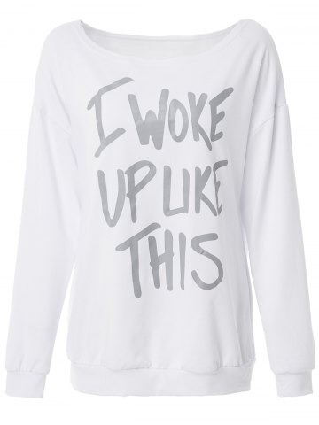 New Casual Scoop Collar Long Sleeve Letter Pattern Loose-Fitting Women's Sweatshirt WHITE M