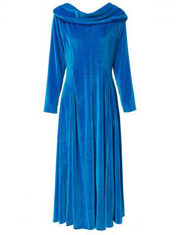Chic Retro Style Solid Color Slash Neck Long Sleeve Flare Midi Dress For Women BLUE S