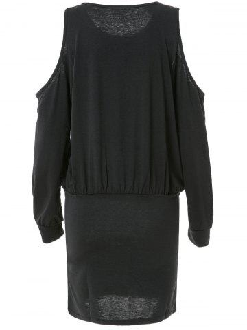 Fashion Trendy Round Neck Long Sleeve Pure Color Knitted Women's Dress - XL BLACK Mobile