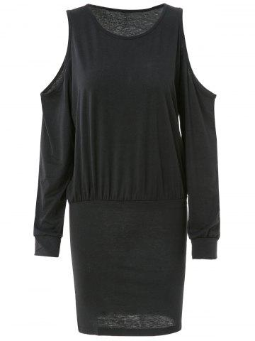 New Trendy Round Neck Long Sleeve Pure Color Knitted Women's Dress - XL BLACK Mobile