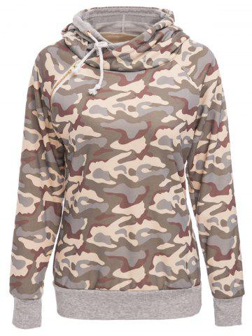 Shops Stylish Hooded Long Sleeve Camo Print Women's Pullover Hoodie