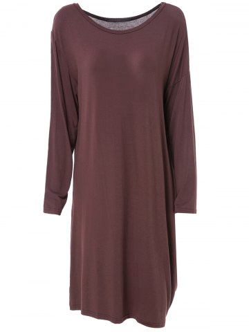 Fashionable Skew Neck Solid Color Long Sleeve Loose Dress For Women