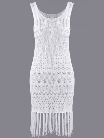 Chic Stylish Scoop Neck Fringe Weave Openwork Dress For Women