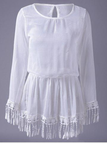 Fancy Casual Scoop Neck Fringe Elastic Sun Shirt Dress For Women
