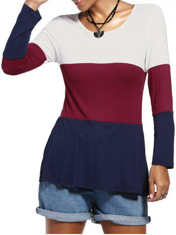 Fashion Casual Color Blocks Jewel Neck Buttons Decorated Long Sleeve Tee For Women