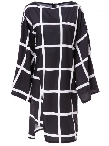 Fashionable Boat Collar Plaid Printed Batwing Sleeve Midi Dress For Women - Black - Xl