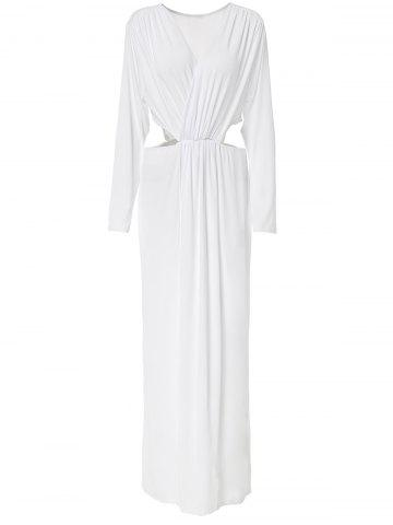 Surplice Cut Out Long Sleeve Maxi Prom Dress - White - 3xl