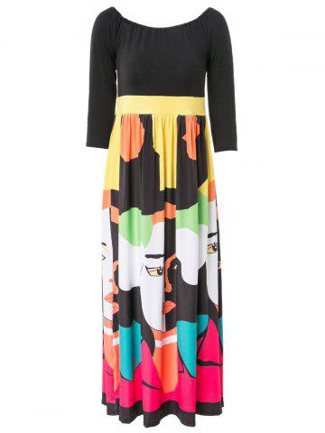 Best Color Block Maxi Empire Waist Dress with Sleeves BLACK S