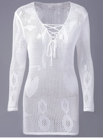 Discount Causal Openwork V Neck Lace Up Long Sleeve Blouse For Women