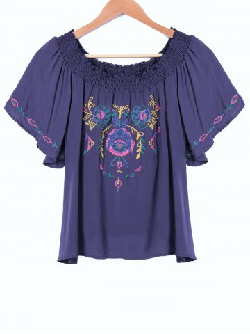 Trendy Ethnic Style Boat Neck Embroidery Short Sleeves Top For Women