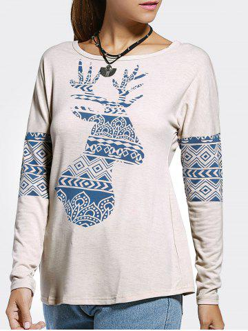 Discount Ethnic Style Jewel Neck Long Sleeve Printed T-Shirt For Women