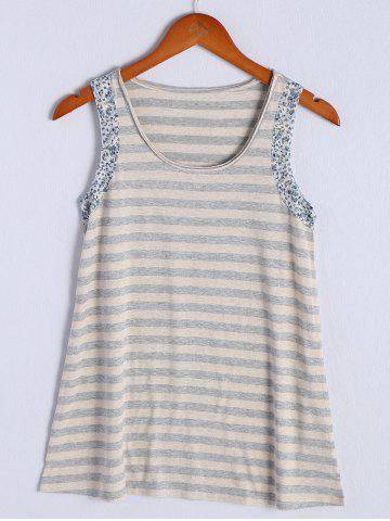 Hot Simple Scoop Neck Striped Floral Hem Tank Top For Women STRIPE L