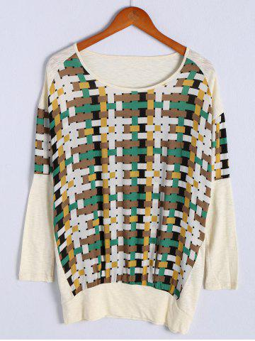 Online Fashionable Scoop Neck Long Sleeve Color Block Patchwork T-Shirt For Women