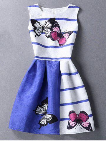 Latest Chic Butterfly Print Color Block Scoop Neck Sleeveless Dress For Women