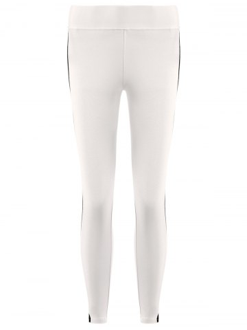 Fashion Active Side Hit Color High Waist Bodycon Stretchy Sport Pants For Women - L WHITE Mobile