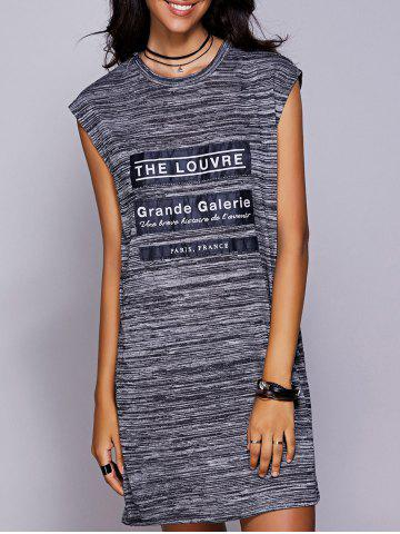 Cheap Graphic Applique Slit Tee Dress BLACK GREY M