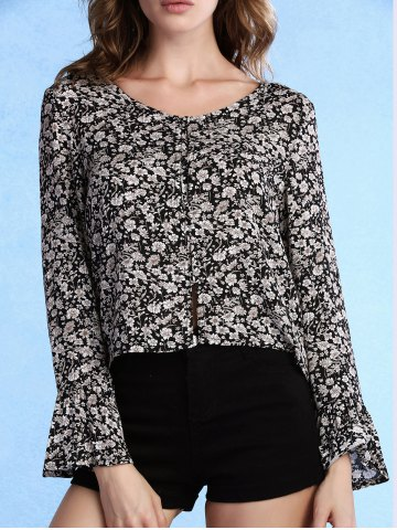 New Sweet Scoop Neck Flare Sleeve Tiny Floral Print Women's Blouse
