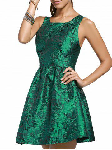 Outfit Elegant Jewel Neck Sleeveless Cut Out Floral Dress For Women