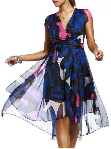 Fancy Elegant V-Neck Short Sleeve Print High Low Dress For Women