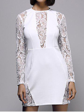 Store Bodycon Long Sleeve Round Neck Lace Spliced Women's Dress WHITE 2XL