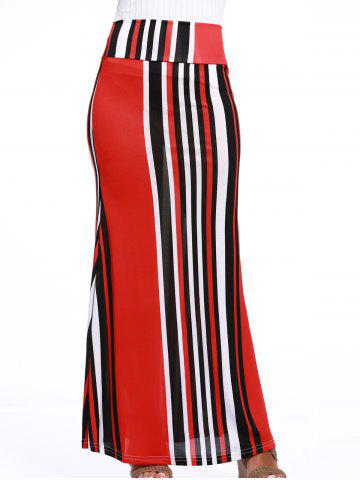 New Stylish Women's Colorful Striped Over Hip Skirt