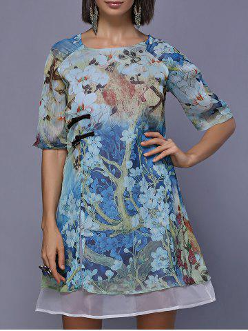 Fancy Retro Style Floral Painting Split Front Round Neck Dress For Women