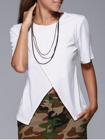 Shops Overlap Front Slit Fitted T-Shirt