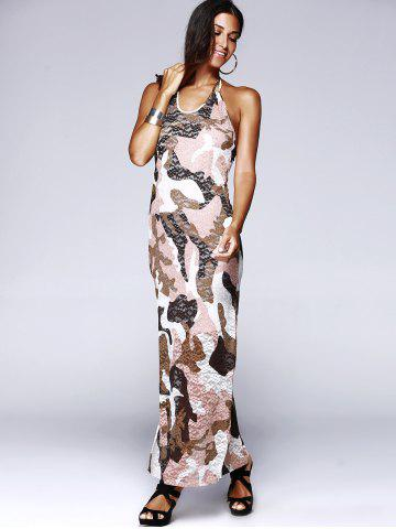 Outfit Long Halter Backless Camo Prom Dress - L COLORMIX Mobile