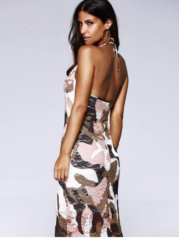 Trendy Long Halter Backless Camo Prom Dress - L COLORMIX Mobile