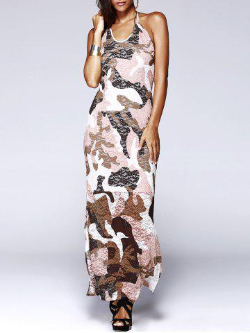 Fashion Long Halter Backless Camo Prom Dress COLORMIX L