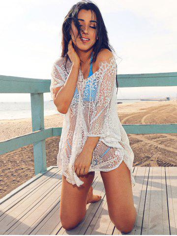 Outfit Lace Up Sheer Beach Lace Tunic Cover Up - ONE SIZE(FIT SIZE XS TO M) WHITE Mobile