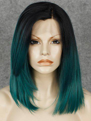 Sale Trendy Straight Synthetic Medium Black Ombre Dark Green Lace Front Wig For Women