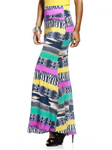 Fashion Mixed Print Long Skirt COLORMIX L