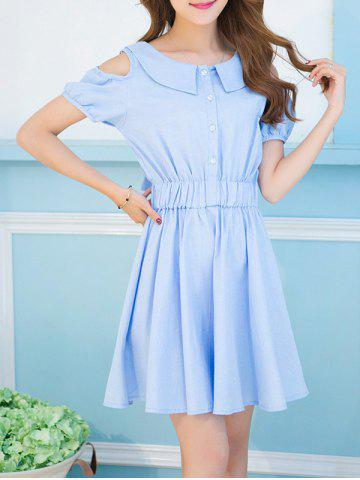 Unique Sweet Turn-Down Collar Cold Shoulder Bowknot Dress For Women AZURE S